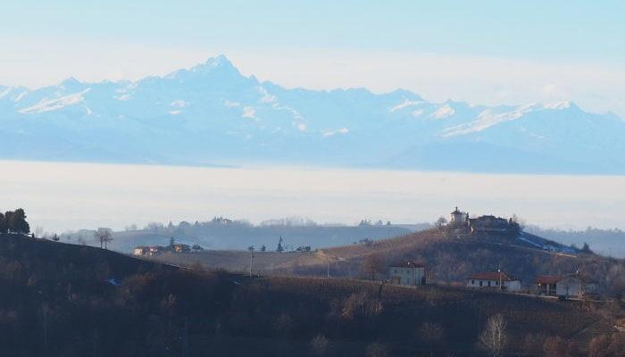 zicht op Monviso winter